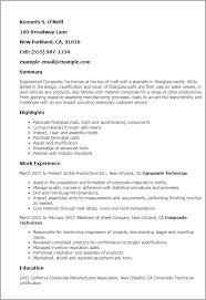 professional composite technician templates to showcase your    resume templates  composite technician