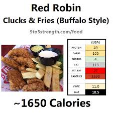 nutrition information calories red robin clucks fries