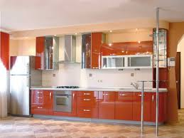 Orange And White Kitchen Terrific Dark Orange Kitchen Cabinets With White Tile Backsplash