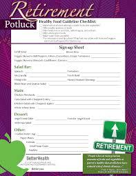 Potluck Sign Up Free Retirement Potluck Signup Sheet Templates At