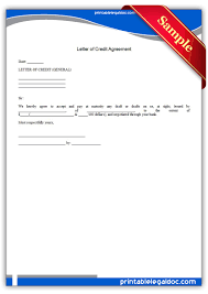 printable letter of credit agreement template printable legal printable letter of credit agreement template