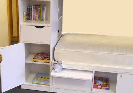 white bunk bed with storage