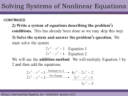 solving systems of nar equations