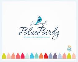 clean logo design blue bird logo design bird on leafy branch in nature design simple clean business premade logo animal photography spa wedding custom logo