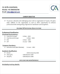 Professional Resume For Chartered Accountants Fresher Chartered