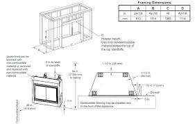 framing for gas fireplace dimensions direct vent a wood burning insert fram