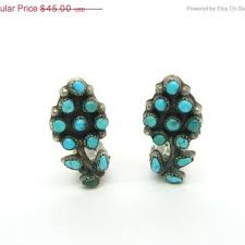 turquoise earrings zuni petit point sterling silver flower clip ons vintage native