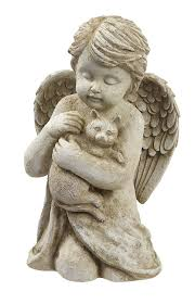 cat garden statue. amazon.com : grasslands road cherub with cat, 7-inch, gift boxed outdoor statues garden \u0026 cat statue