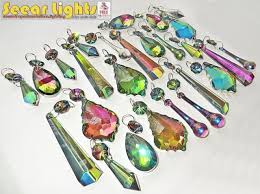 vitrail cut glass crystals drops beads gothic chandelier light iridescent prisms