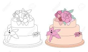 Coloring Book Page Birthday Cake With Sugar Flowers Sketch And