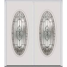 double entry doors for home. 60 in. x 80 cadence left-hand large oval classic painted double entry doors for home r