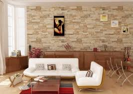 sophisticated living room with stone wall
