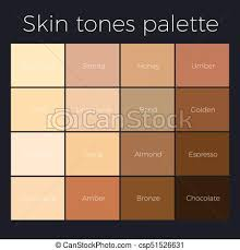 Skin Complexion Color Chart Skin Tones Palette Vector