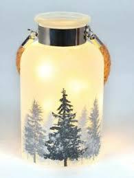 Tischdeko Deko Glas Wald Schnee Weihnachten Mit 10 Led Ebay