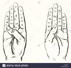 Left and right hand palm with numbers drawed on each finger. Old  illustration about duodecimal calculation on fingers. Isolated elements on  white background. Magasin Pittoresque Paris 1848 Stock Photo - Alamy
