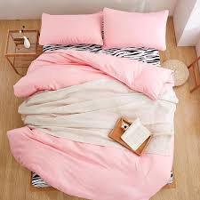 home textiles pale pink zebra solid color bedding sets 3 4pcs duvet cover bed sheet pillowcase king queen full twin size
