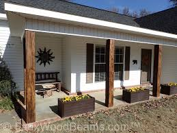Decorative wood porch posts made with Custom Timber beams