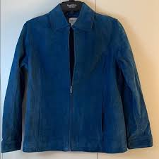Chico S Size 0 100 Leather Suede Blue Jacket Zip