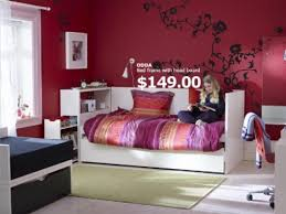 Paint For Girls Bedrooms Bedroom Teen Bedroom With Bed Frame And Red Wall Paint Color And