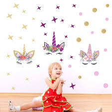 <b>Colorful Polka Dot</b> Cute Cartoon Unicorn <b>Wall</b> Stickers For Kids ...