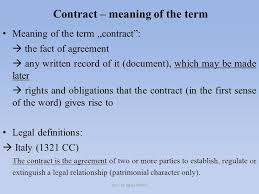 "Legal Contract Impressive Contract Meaning Of The Term Meaning Of The Term ""contract"