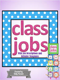 Classroom Job Chart Printable Free Classroom Job Chart Cards With Headers Descriptions