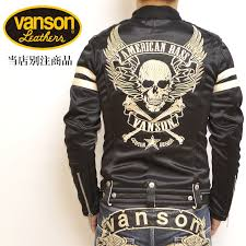 another note vanson bunson bonding single riders jacket flying skull back embroidery abv 307