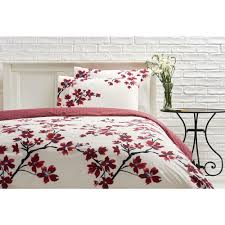 wilko cream and red symmetry blossom double duvet set image 1