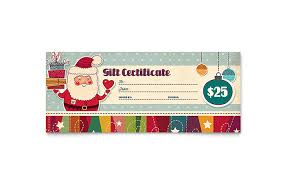 christmas gift card templates retro santa gift certificate template design