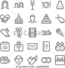 Outline Icon Set Wedding Outline Web Icon Set Wedding Eps 10