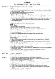 Production Manager Resume Examples Associate Production Manager Resume Samples Velvet Jobs 12