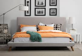 Nixon Platform Bed  Beige Linen TOV Furniture  Modern ManhattanLinen Platform Bed
