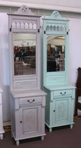 distressed light gray painted foyer hall tree cabinet with hat rack and mirror