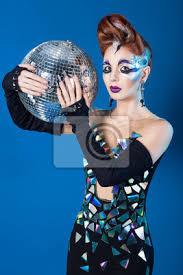 Papiers Peints Belle Femme Avec Coiffure élégante Disco Ball