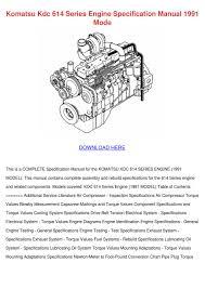 Komatsu Kdc 614 Series Engine Specification M By