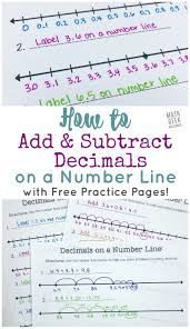 Add Subtract Decimals On A Number Line Free Printable