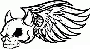 Small Picture Printable Skull Coloring Pages For Kids Wings Pages adult