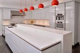 Superb Fascinating Kitchen Room Included By Bright Cabinets And Red Pendant  Light Designs