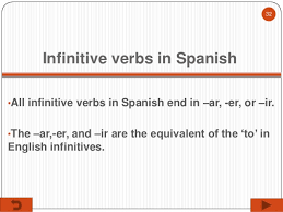Spanish Infinitive Verbs Chart Wk 6 Spanish I Regular Present Tense Verb Conjugation