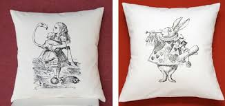 Nuka Sells Alice In Wonderland Themed Pillows In Her Etsy Shop, Lovely,  Handprinted.
