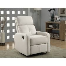 contemporary bondedleather swivel glider recliner chair  white