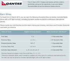 Emirates Skywards Qantas Earning Award Chart Loyaltylobby