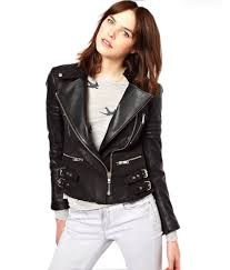 leatherzone genuine leather black colour women biker jacket