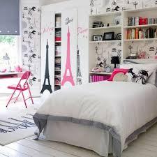 charming eiffel tower decor for bedroom visualizing feminine bedding arrangement lovely wallpaper and wardrobe doors