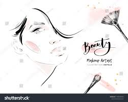 beautiful woman face makeup with brushes vector fashion ilration hand drawn line art sketch for