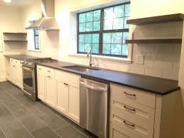 Kitchen With Slate Floor Black Blizzard Slate Pink Camellias