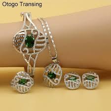 otogo transing pendant earrings bracelet jewelry set silver color green crystal zirconia classic bridal