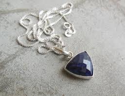 blue sapphire pendant necklace blue triangle pendant silver at astudio1980 com