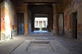 impluvium in atrium looking through the tablinum toward the peristyle house of menander