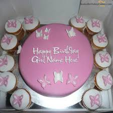 Write Name On Butterfly Birthday Cake For Girls Happy Birthday Wishes